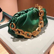 Women Fashion Genuine Leather The Pouch Handbag High Quality Thick Metal Chain Cloud Dumplings