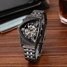 Features Hollow Triangular Mechanical Watches Stainless Steel Men's Wristwatches