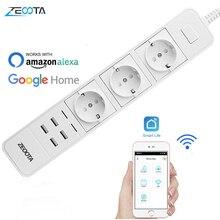 Умный Wifi сетевой фильтр, защита от перенапряжения, несколько розеток питания, 4 порта USB, голосовое управление для Amazon Echo Alexa, Google Home, таймер