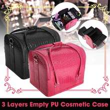 PU Leather Suitcase Cosmetic Bag Case Large Capacity Portable Cosmetics Organizer Manicure Cosmetolo