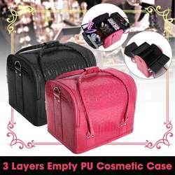 PU Leather Suitcase Cosmetic Bag Case Large Capacity Portable Cosmetics Organizer Manicure Cosmetology Suitcases