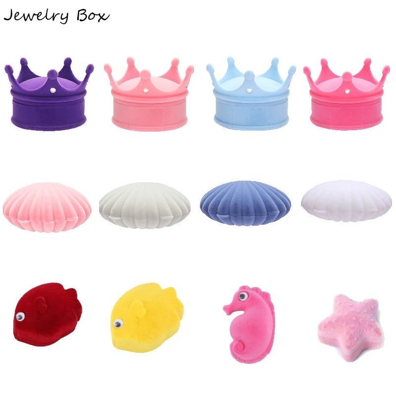1 Pcs Shell Crown Animal Shape Lovely Velvet Wedding Engagement Earrings Ring Box Jewelry Display Case Holder Gift Boxes