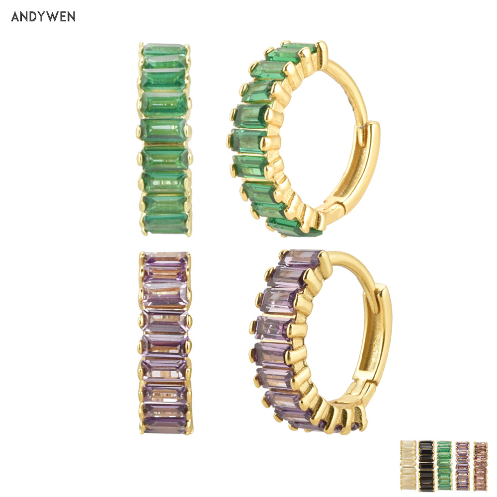 Andywen 100% 925 Sterling Silver Rainbow Color Hoops Circle Round Earring Piercing CZ Zircon Pave Pendiente Ohrringe Jewelry