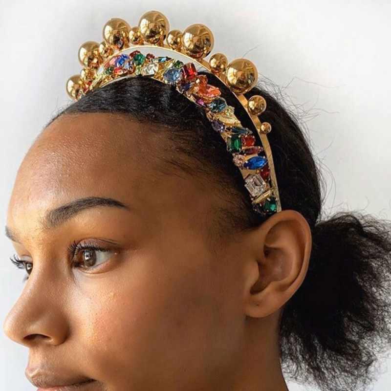 Trendy Luxus Haarbänder Große Perlen Strass Stirnband für Frauen Elegante Haar Band Party Hochzeit Mädchen Haar Accesorios Geschenke