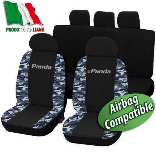 COPRISEDILI SPECIFICI FIAT PANDA DAL 2012  POS1/3-2/3 BICOLORE NERO-MIMETICO BLU