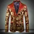 fashion luxury mens casual blazer jacket big size long sleeve gold pattern slim fit blazers men
