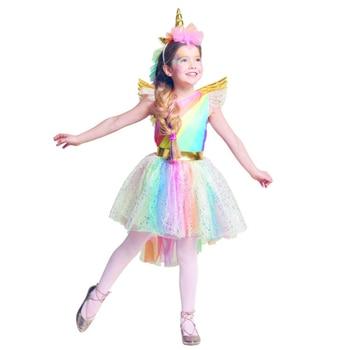 Rainbow Unicorn Costume Cosplay For Girls Birth Party Dress Halloween Kids Purim Up