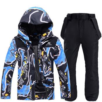 Zimowy kombinezon narciarski dla mężczyzn wodoodporna kurtka narciarska zestaw spodni Outdoor Sports wiatroszczelna ciepła kurtka narciarska i snowboardowa męska marka tanie i dobre opinie CN (pochodzenie) Poliester Z kapturem Skiing Pasuje prawda na wymiar weź swój normalny rozmiar M322 Kurtki Anty-pilling