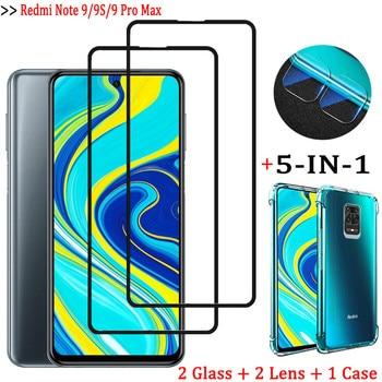5-in-1capa, glass case for redmi note 9pro tempered glass screen protector redmi-9 s note9 pro max camera lens film redmi note9s