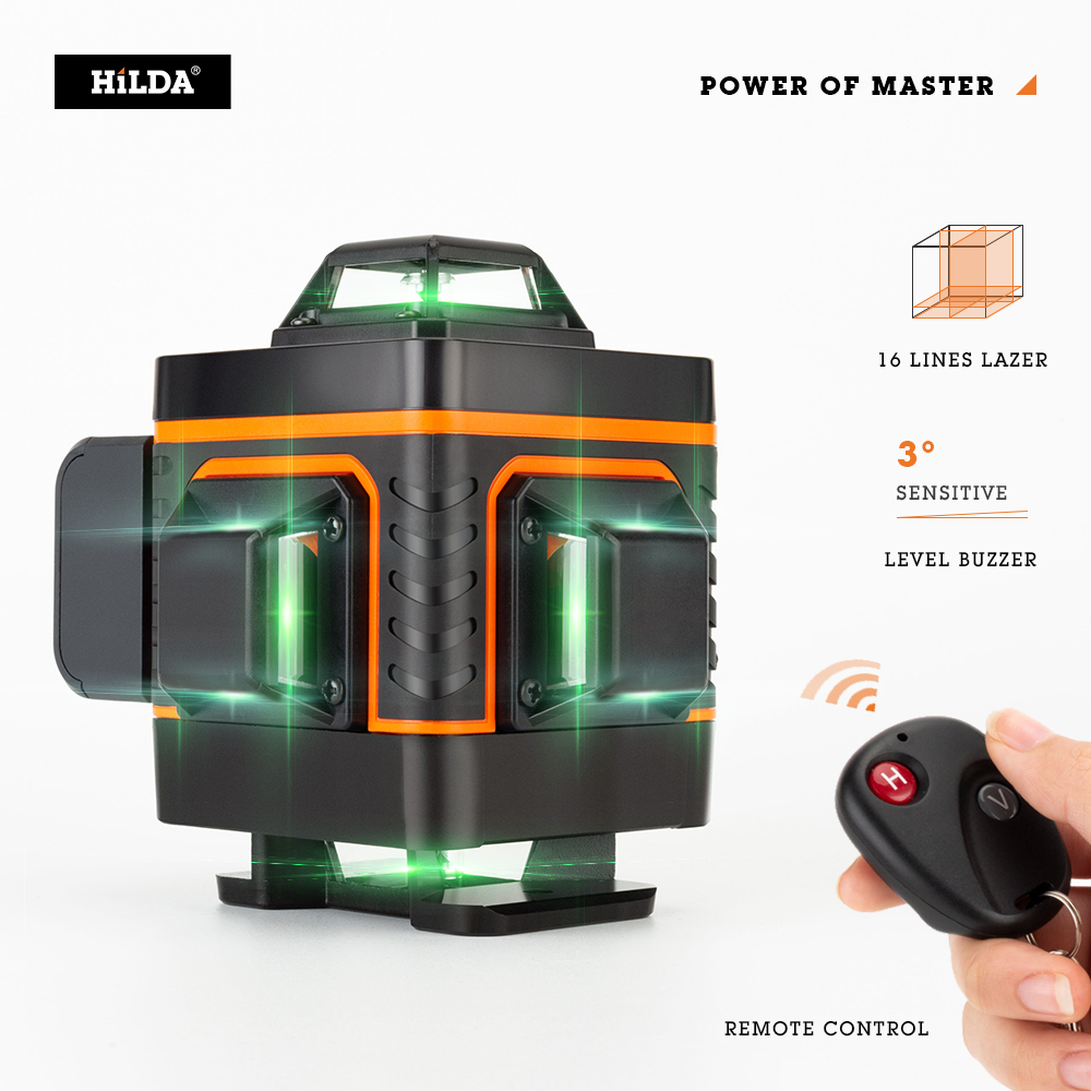HILDA 16 Lines 4D Laser Level Level Self-Leveling 360 Horizontal And Vertical Cross Super Powerful Green Laser Level