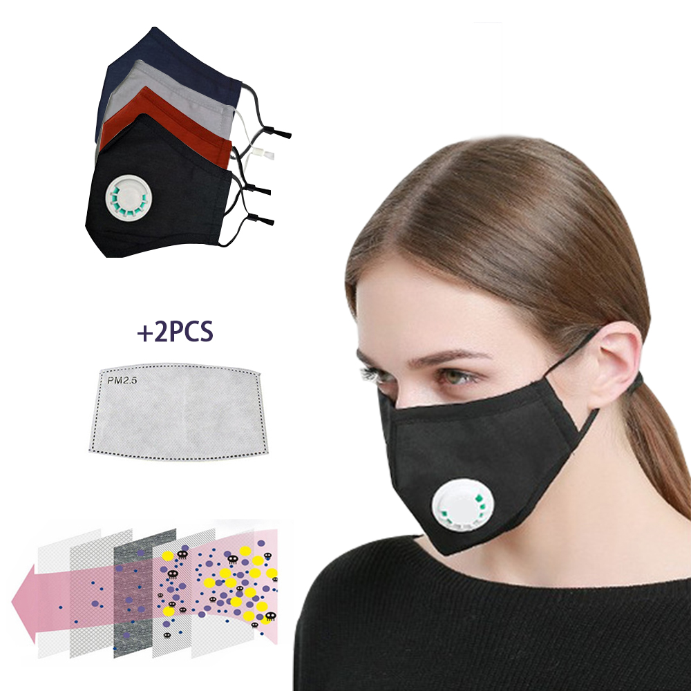 Cotton Dust Mask Mask Breathing Valves Face Mask 5 Layers PM2.5 Activated Carbon Filter Mask For Allergy/Asthma/Travel Adult