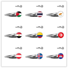 Palestine,Thailand,Cyprus,Egypt,Colombia,Tunisia,Austria,Iceland,Cambodia National Flag 20mm Glass Cabochon Hairpins For Women(China)