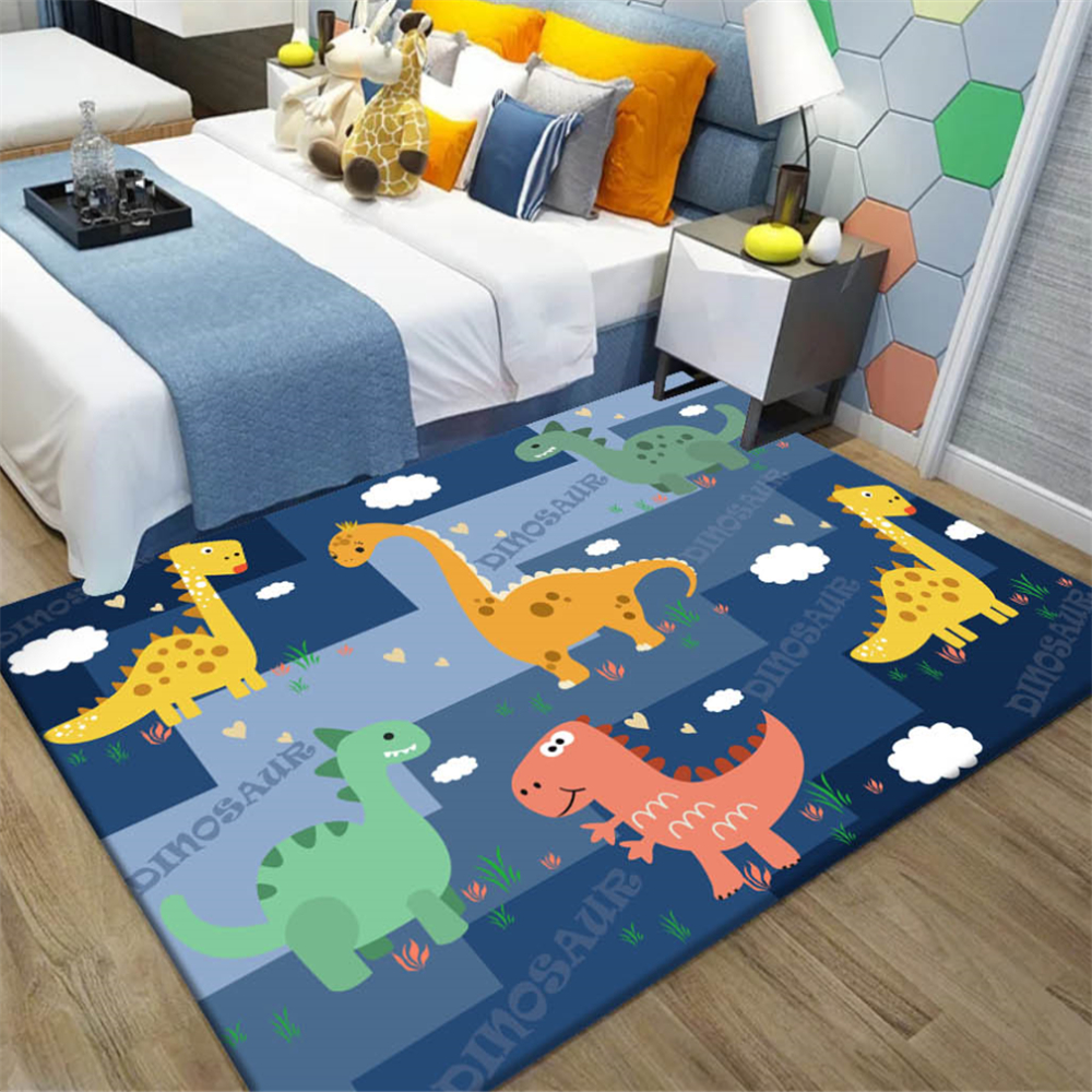 Cartoon Dinosaur Kids Bedroom Floor Mat Soft Baby Play Crawling Area Rug Children Game Mat Bedside Rug Carpet For Living Room