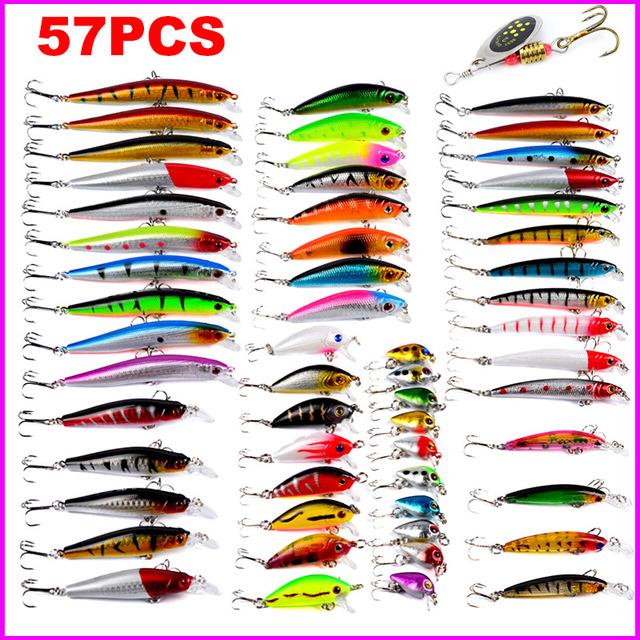 57/48/43/20 Pcs Artificial Bait Fishing Lures Set