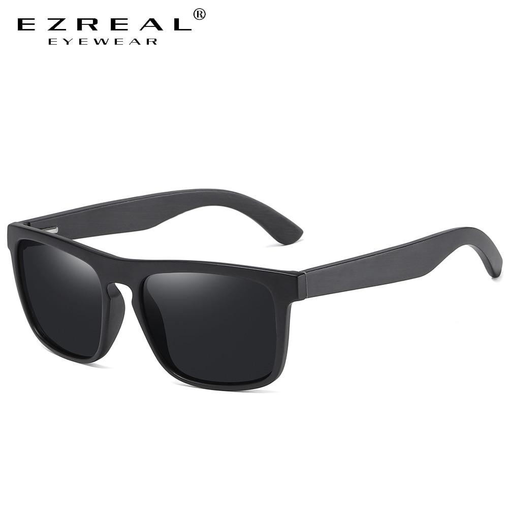 EZREAL Square Vintage Black Frame Sunglasses Bamboo Men Women Wood Sun Glasses Retro Polarized oculos Brand
