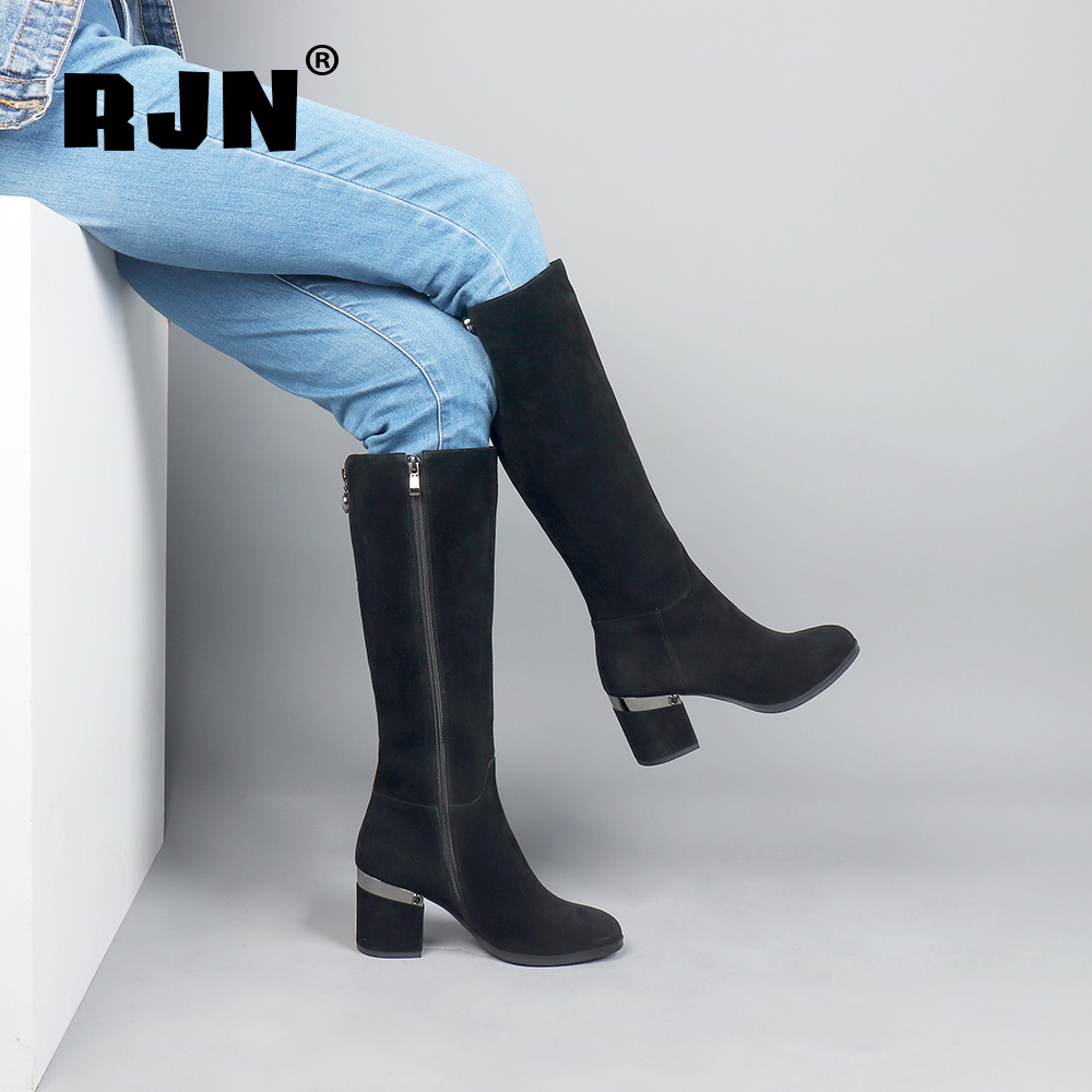 Hot Sale RJN Comfortable Kid Suede Knee High Boots Silver High Heel Unqie Zipper Round Toe Solid Shoes Women Long Boots For Winter R16