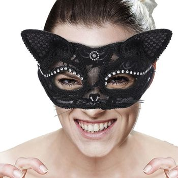 Sexy Cat Half Mask Eco-friendly Animal Themed Club Party Masks for Women Girls Halloween Cosplay Props