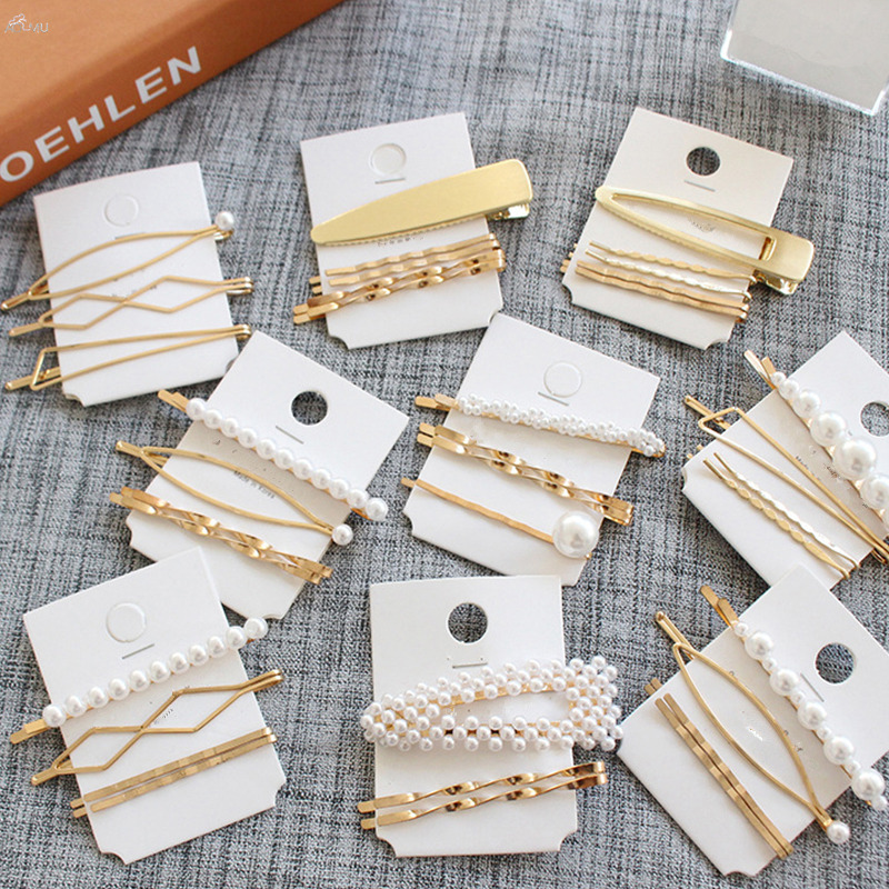 AOMU 1SET Minimalist Metal Geometric Gold Hairpin Hair Accessories Imitiation Pearl Hair Clips For Women Girls Hair Jewelry