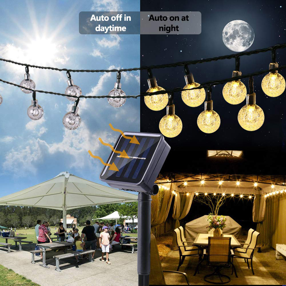Waterproof Solar LED Ball Garland String Fairy Lamp Solar Power Party Decoration Lighting Solar Outdoor Party Garden Decor Light