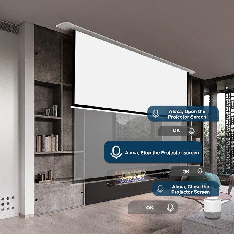 THMFGH 80-150 pulgadas en el techo montado eléctrico/proyección motorizada/pantalla del proyector con fibra de vidrio mate blanco para cine en casa