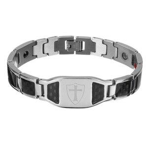High Quality Stainless Steel Cross Bracelet Bangles Men Black Silver Color Carbon Fiber Health Bracelets For Men Fashion Jewelry(China)