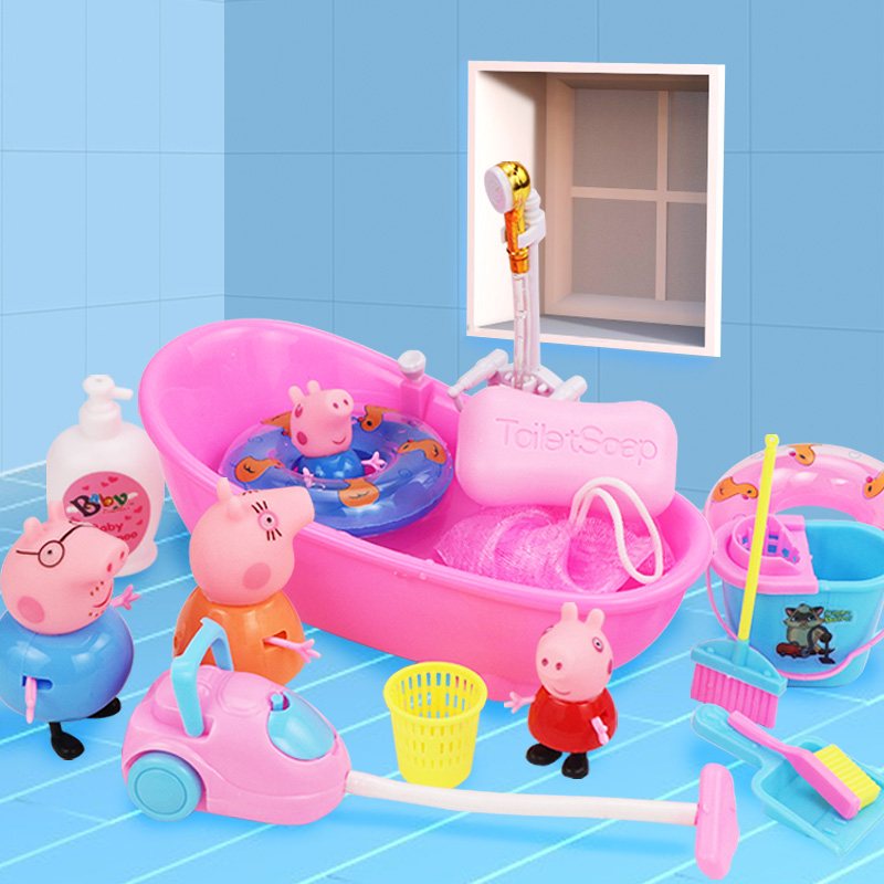 Peppa Pig Action Figure Baby Bathing Water Bath Toys Peppa Pig Family Bathroom Shower Beach Play Water Funny Educational Toys