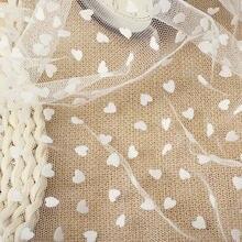 1 quintal branco coração reuniram malha tule guipure tecido de renda alta qualidade vestido noiva decoração casamento costura tecido líquido 150 largo