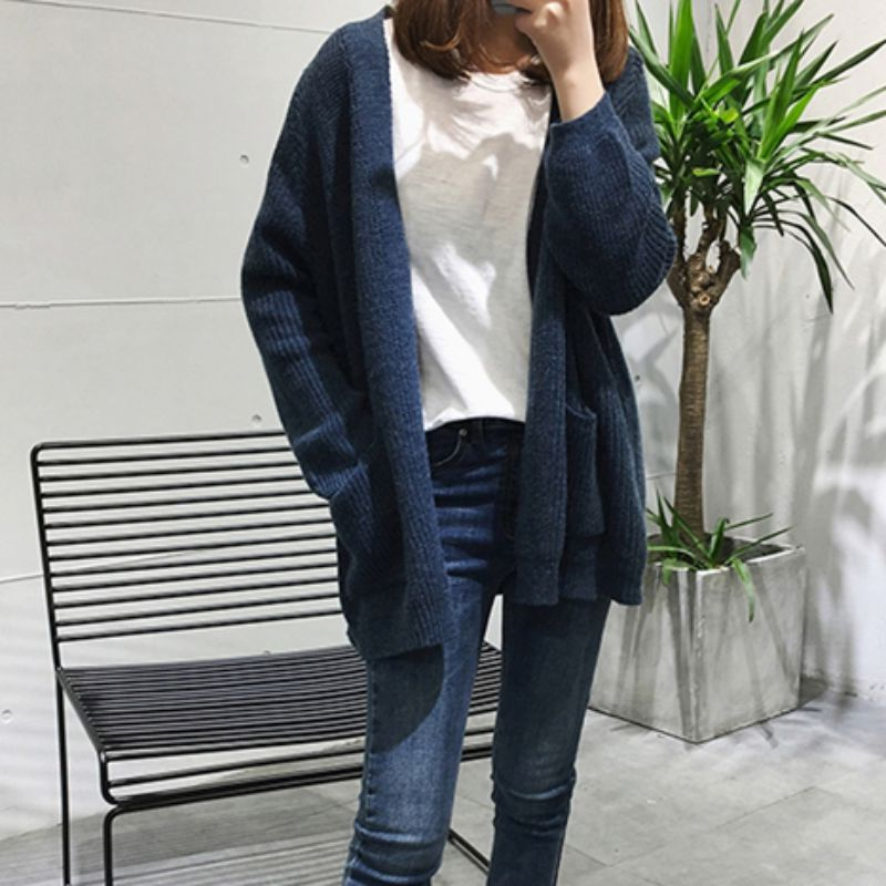 Women Thin Cardigan Coat Autumn Winter Fashion Pockets  Ladies V-neck Long Sleeve Sweater Female Solid Color Knit Cardigan Coat