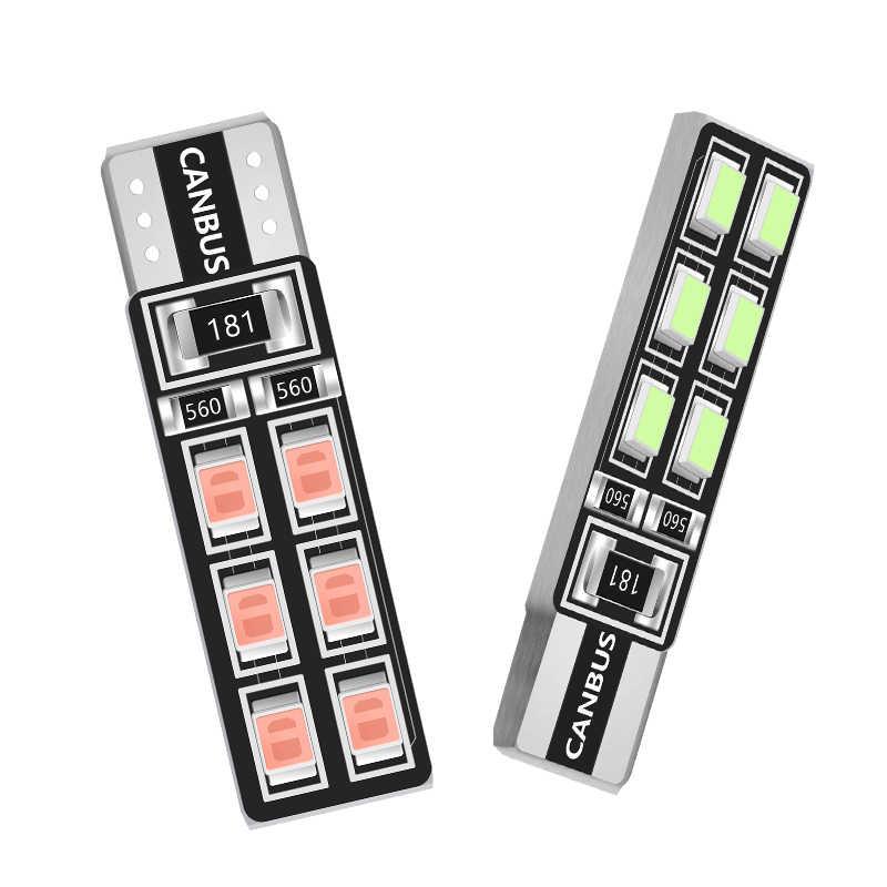 1 Pcs T10 W5W Mobil Lampu LED CANBUS 12 Lampu 3528 SMD Clearance Lampu Lampu Baca 194 168 2825 Lampu lampu Sinyal Lampu Putih 12V