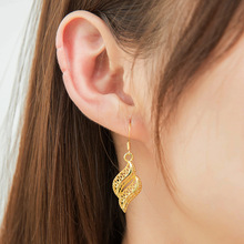 Hello MIss New fashion earrings hollow metal wave pendant temperament ladies ear jewelry gifts