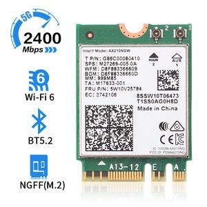 Image 2 - Kablosuz 2400Mbps WiFi 6 Intel AX200/802 11ax/ac 2.4Ghz 5Ghz M.2 Bluetooth 5.1 ağ kartı Intel 9260 AX210 adaptörü Laptop için