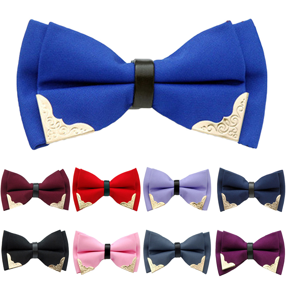 Mens Business Pre-tied Bow Tie Solid Color Gold Tip Bowties Wedding Party