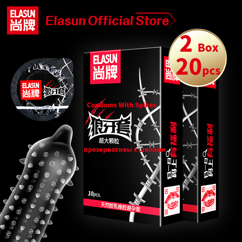 Elasun Cheapest 2 Boxes Super Scream Condoms with Large Spike Particle Set Thailand Natural Latex Rubber Condom For Men Sex Toys