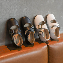 Metal Buckle Cross-tied Kids Dresses for Girls Baby Shoes Heels New Leather