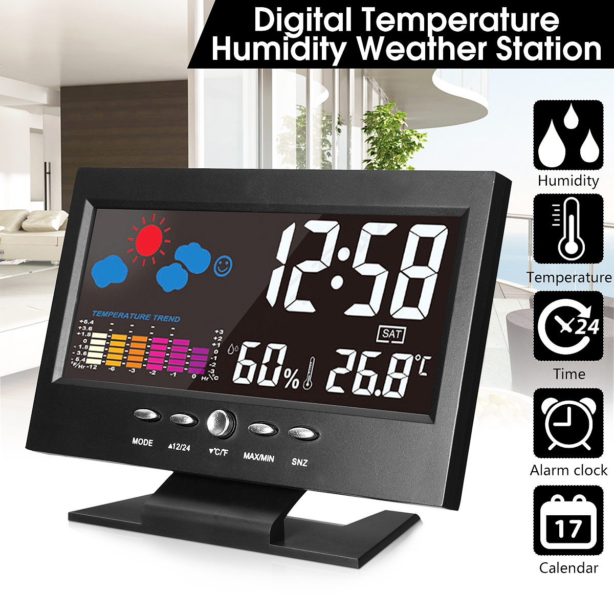 Weather Station Car Thermometer LCD Color Screen Indoor Temperature Humidity Calendar wiith UBS Cable Universal Alarm Clock
