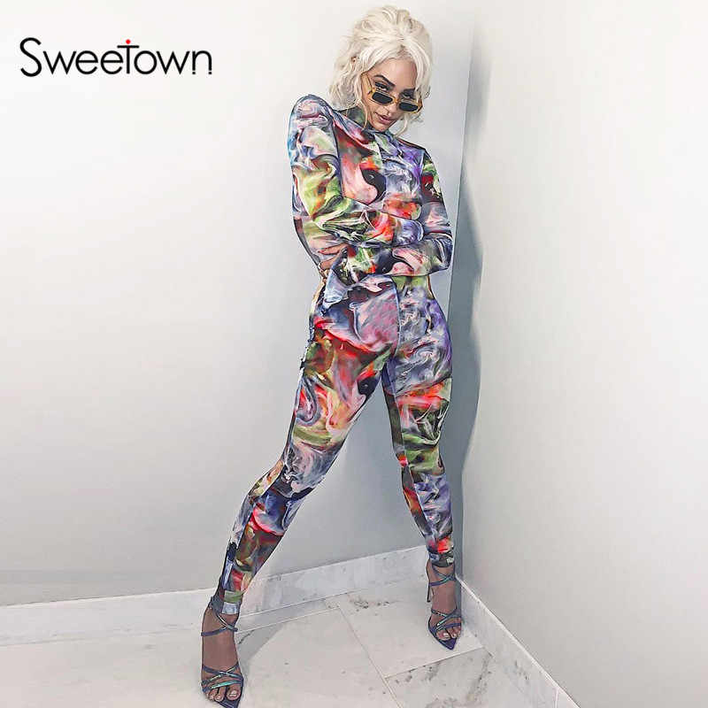 Sweetown Athleisure Tie Dye Sportief Casual Jumpsuit Vrouwen Lange Mouw Workout Skinny Rompertjes Jumpsuits Print Bodycon Body Mujer