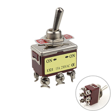 1pcs E-TEN1321 12mm 250V 15A 6 Pin ON-ON Toggle Switch Rocker Switch DPDT Brown momentary 6 pin dpdt black button on off on rocker switch ac 250v 10a 125v 15a