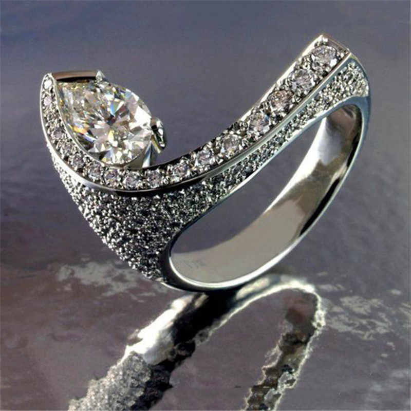 Unique Style Female Crystal Zircon Stone Ring Vintage Silver Wedding Rings For Women Promise Water Drop Engagement Ring