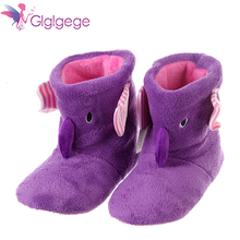 Glglgege Women winter indoor slippers lovely animal prints solid flat shoes plush warm home women
