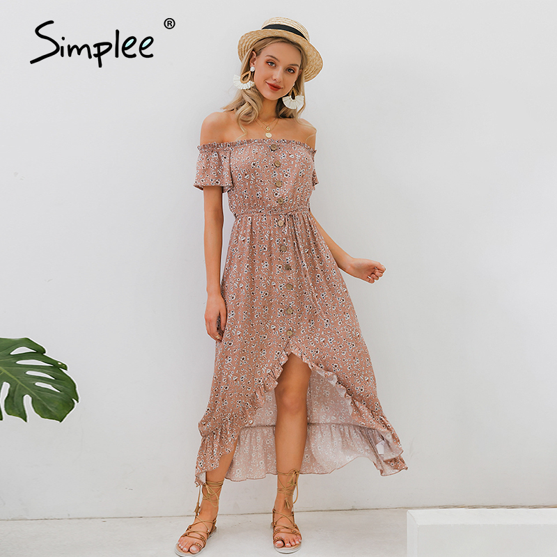 Simplee Off Shoulder Summer Dress Floral Print Sash Ruffled High Wasit Buttons Beach Dress Women Chic Holiday Casual Maxi Dress