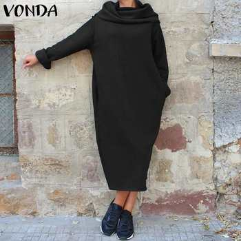 Hoodie Dresses Autumn Winter Long Sleeve Dress VONDA 2020 Loose Robe Casual Long Sundress Bohemian Vestidos Plus Size vonda women dress vintage o neck long sleeve bohemian mini dress 2020 summer beach sundress casual loose vestidos plus size