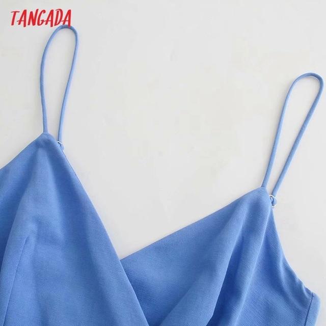 Tangada Women's Summer Dress Blue Dress With Belt Strap Adjust Sleeveless 2021 Fashion Lady Elegant Dresses 3H772 3