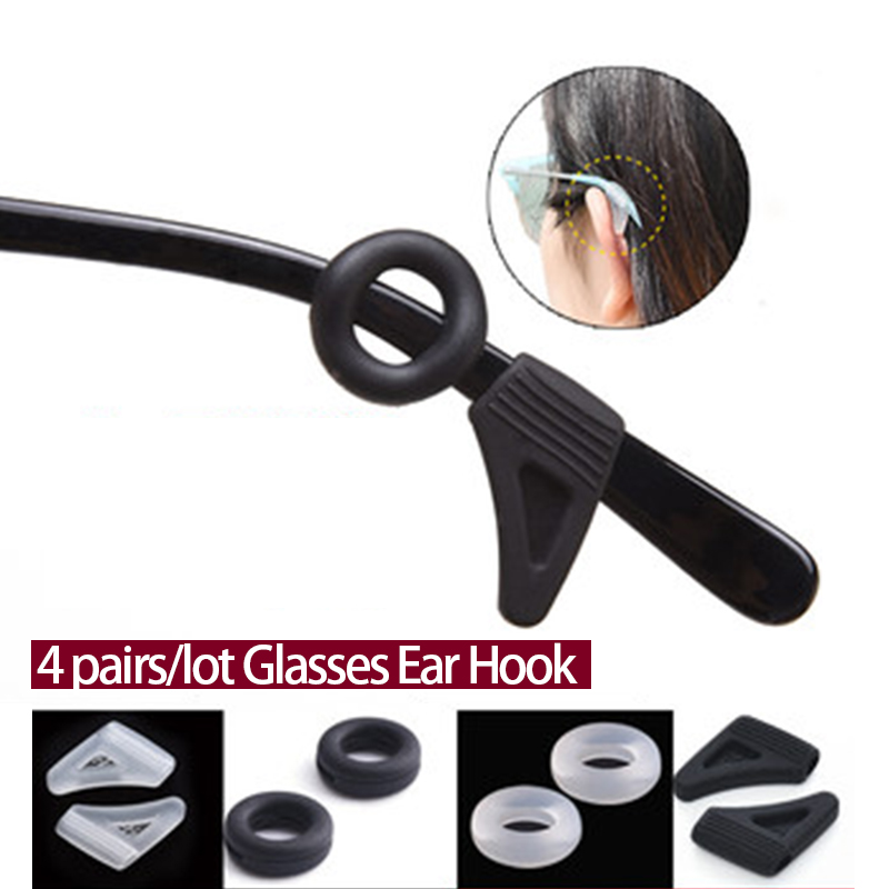 4Pairs/lot Anti Slip Silicone Glasses Ear Hooks For Adults  And Kids Round Grips Eyeglasses Sports Temple Tips Soft Ear Hook