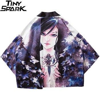 2020 Harajuku Kimono chaqueta japonesa de dibujos animados chica impresa Hip Hop hombres Streetwear chaquetas verano fino estilo japonés ropa suelta
