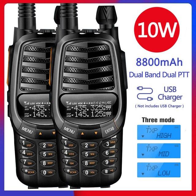 2pcs 2021 New BAOFENG UV X10 10W Powerful Dual PTT Dual Band VHF/UHF USB Charging Ham 2 Way Radio Update UV 5R Walkie Talkies Tr