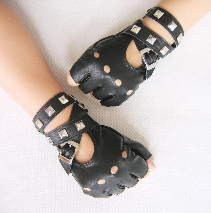 Good Quality! Women's Semi-finger PU Gloves Punk Rivet Faux Leather Fingerless Gloves Black Red White Gloves
