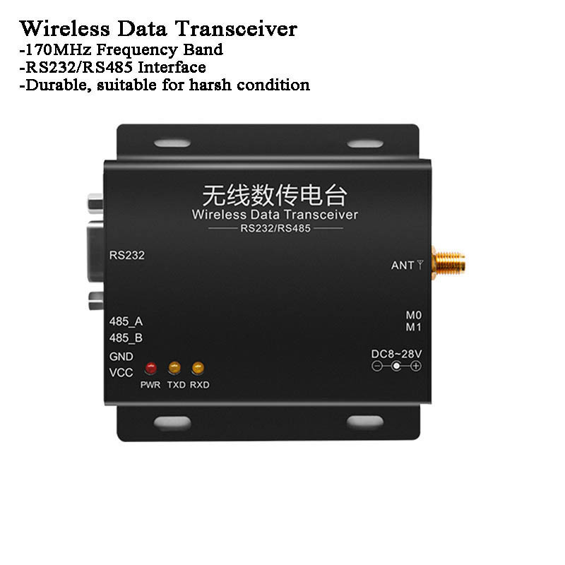 8km 170MHz RS485/RS232 Transmitter/Receiver RF Module Lora SX1278 FEC Broadcast Transmit Poin To Point Wireless Data Transceiver