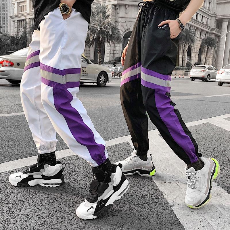 Image 2 - 2019 Hip Hip Men Jogger Pant 3M Reflective Harajuku Baggy  Sweatpant Streetwear Track Pants Sweat Trousers Summer Thin Harem Pant