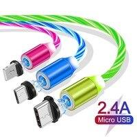 Cable de carga magnético para móvil, Cable de carga rápida con brillo LED, USB tipo C/Micro USB/8 pines, iluminación para iPhone 8 Android USBC