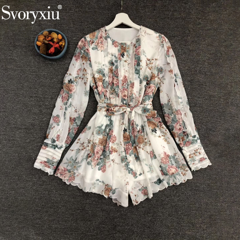 Svoryxiu Runway Designer Fashion Female Summer Multicolor Floral Print Vintage Playsuits Women Bow Sashes Lettuce Edge Jumpsuits